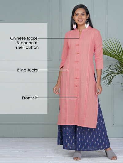 Chinese Loop & Buttons Detailed Blind Tucks Slub-Cotton Kurti - Pink