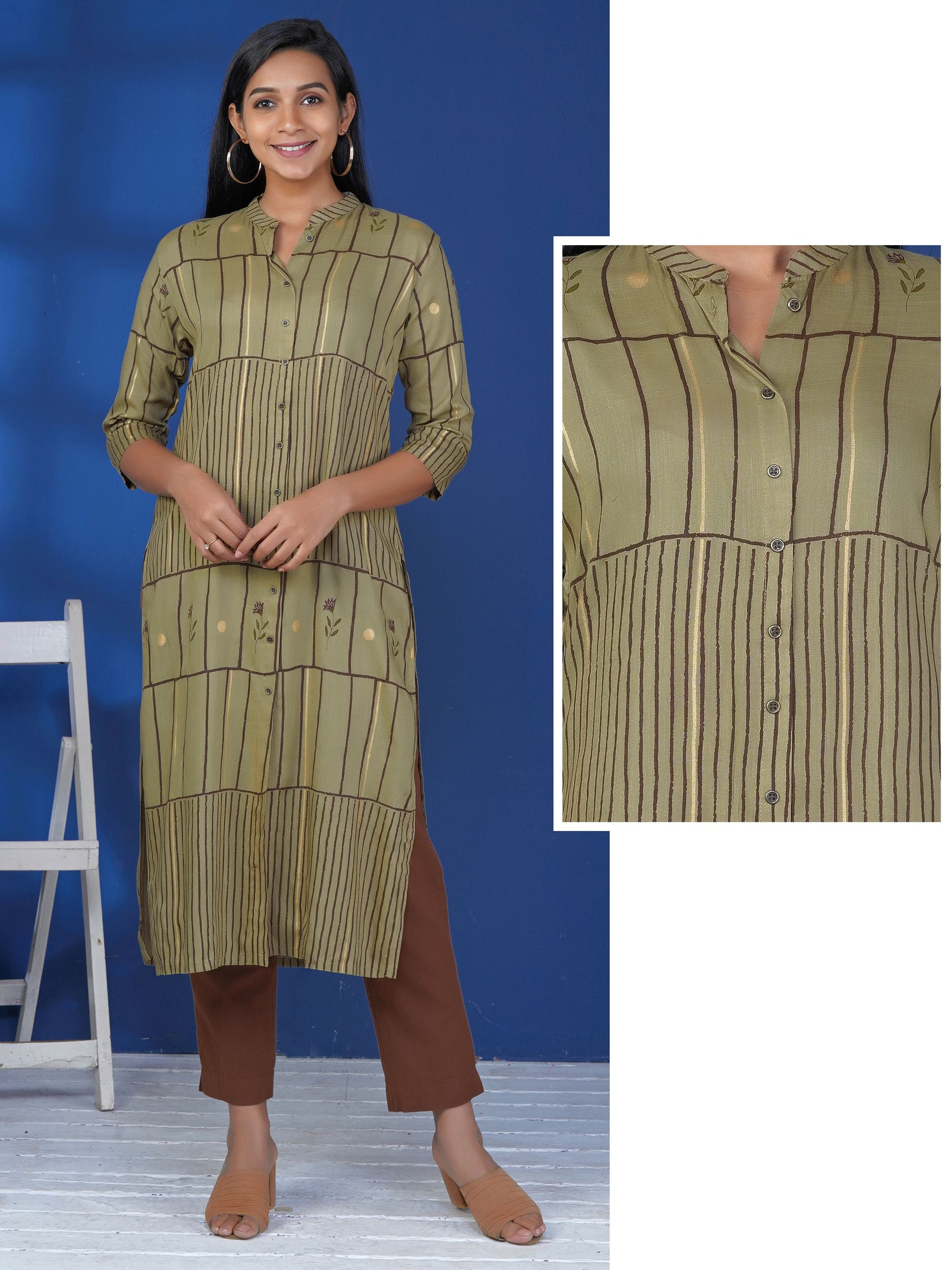 Rustic Buttoned Foil Printed Floral Stick & Striped Kurti – Mustard Grey
