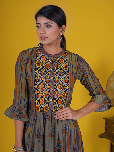 Resham Floral Work Striped Frill Sleeves Panelled Kurti - Mustard Grey