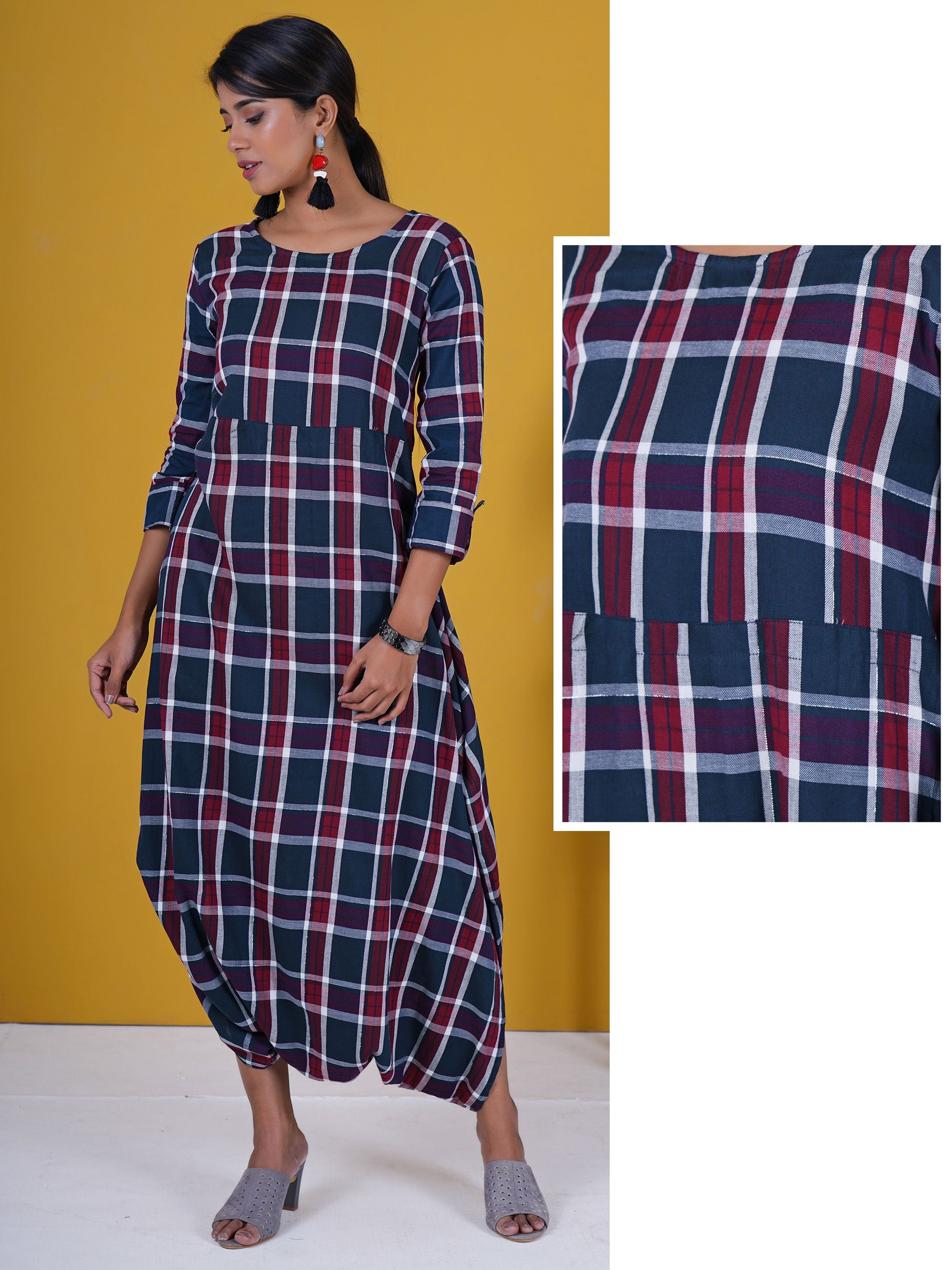 Royal Plaids Printed Drop Crotch Jumpsuit - Navy & Maroon