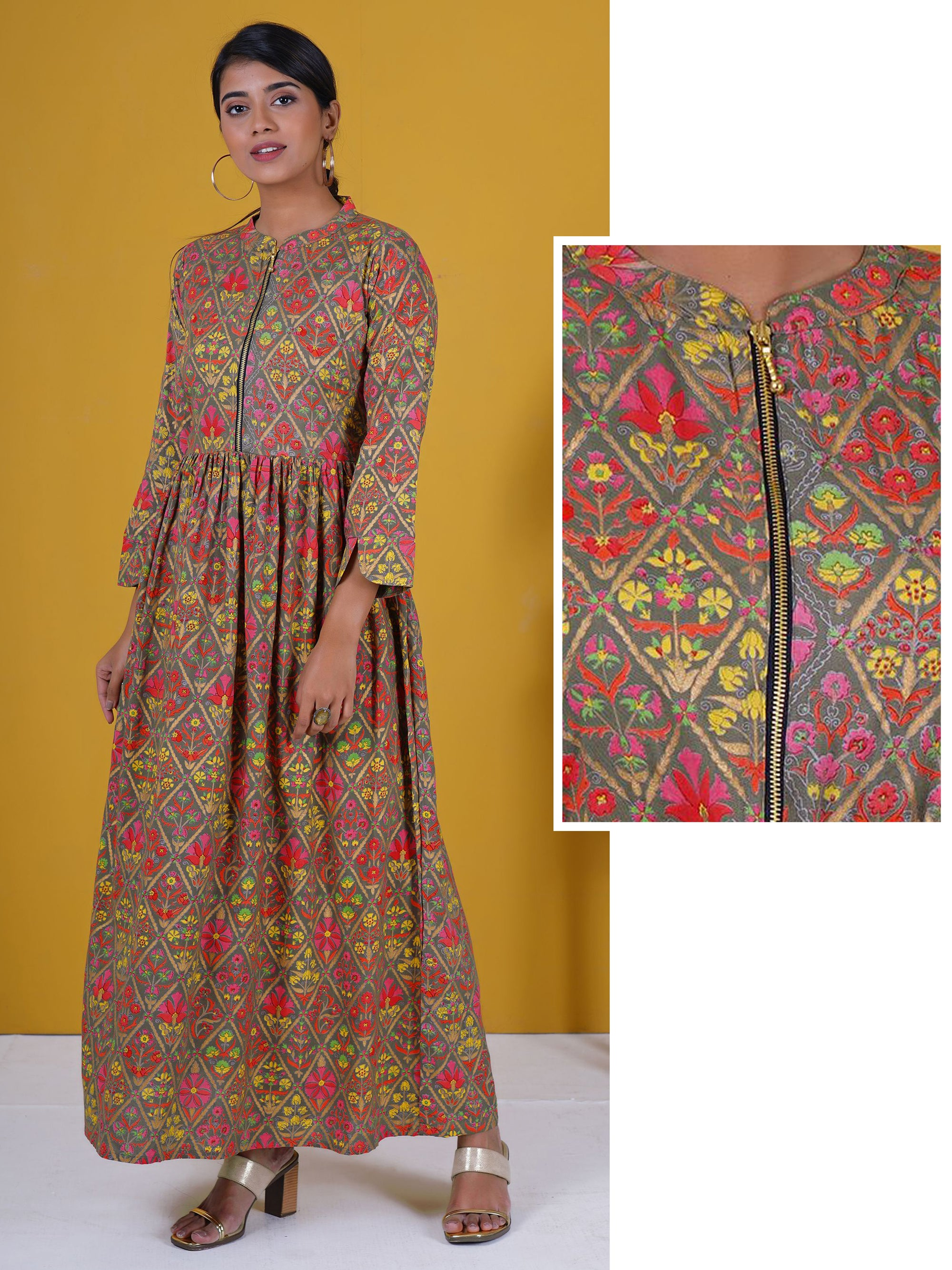 Golden Metal Zippered Floral Busy Khadi Printed Cotton Kurti