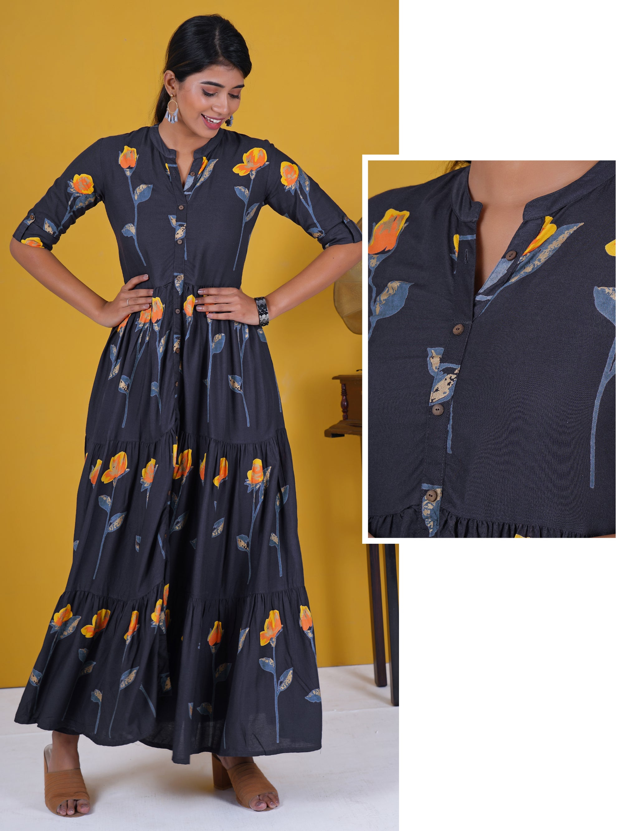 Coconut Shell Buttoned Abstract Rose Print Cotton Kurti - Yellow