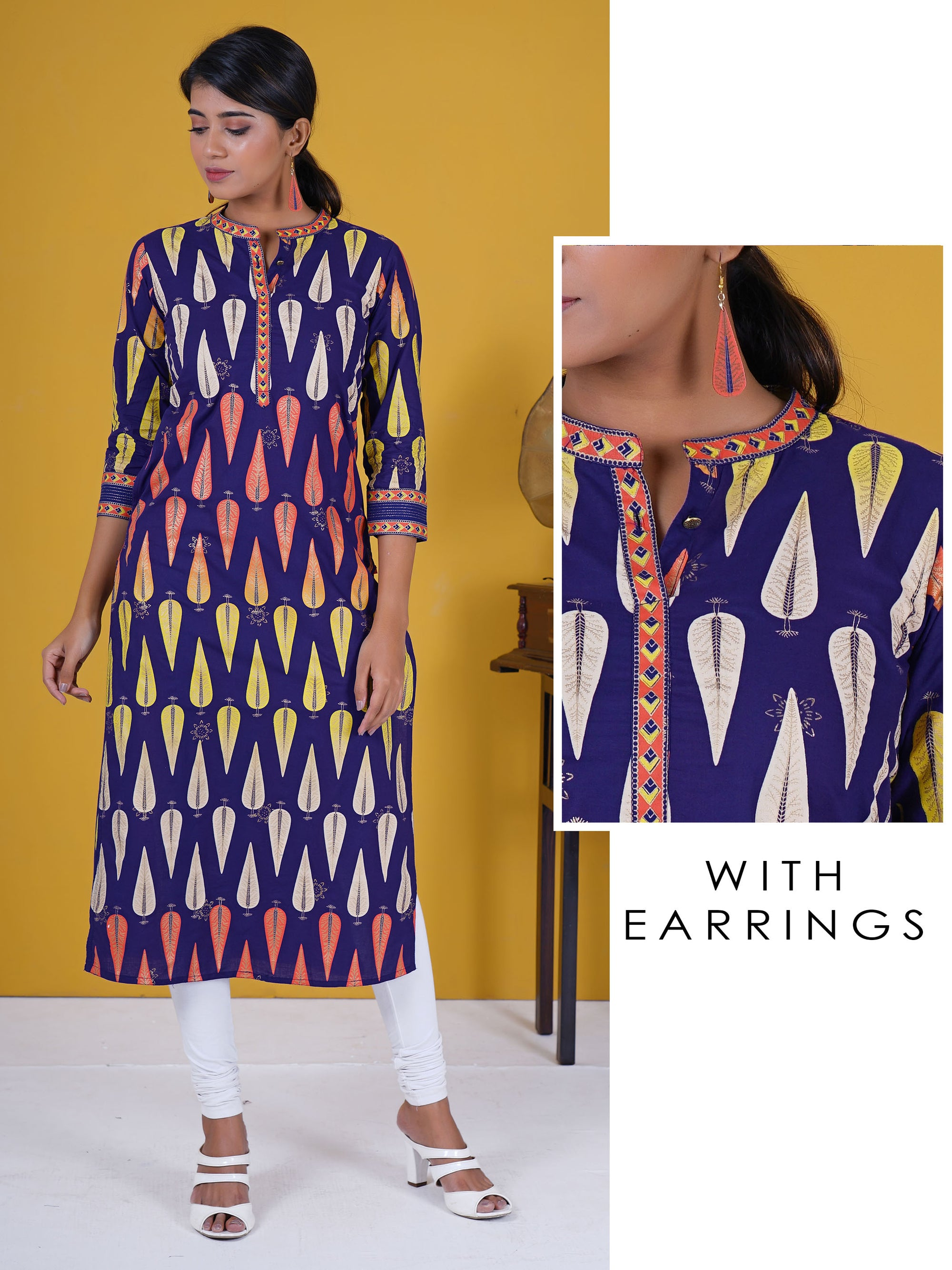 Zari Top Stitched Khadi Printed Leaf Buta Cotton Kurti