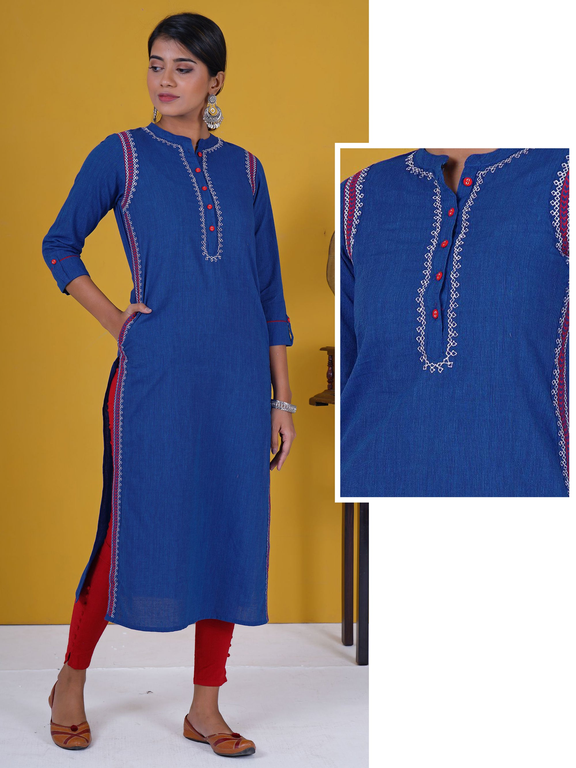 Resham & zari Border Work Woven Striped Cotton Kurti