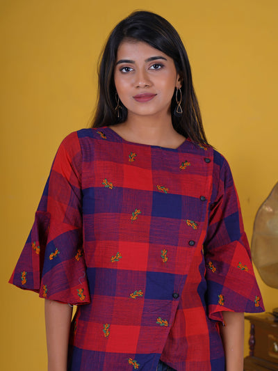 Resham Floral Work Frill Sleeves Overlapping Cotton Short Kurti