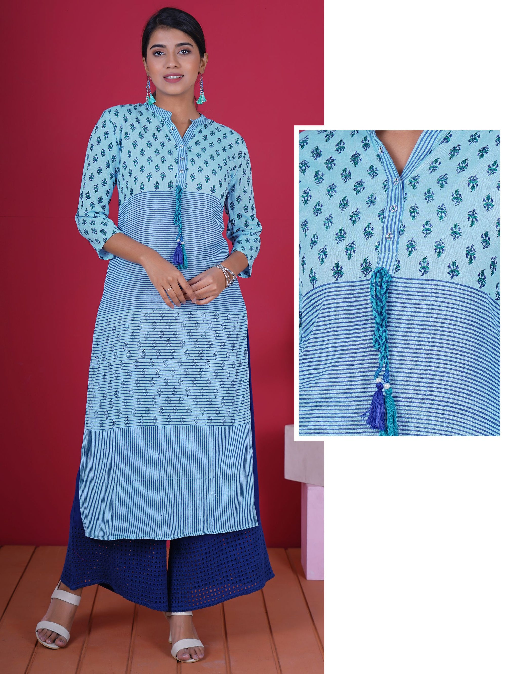Braided Dori With Pearl & Tassels Studded Printed Cotton Kurti