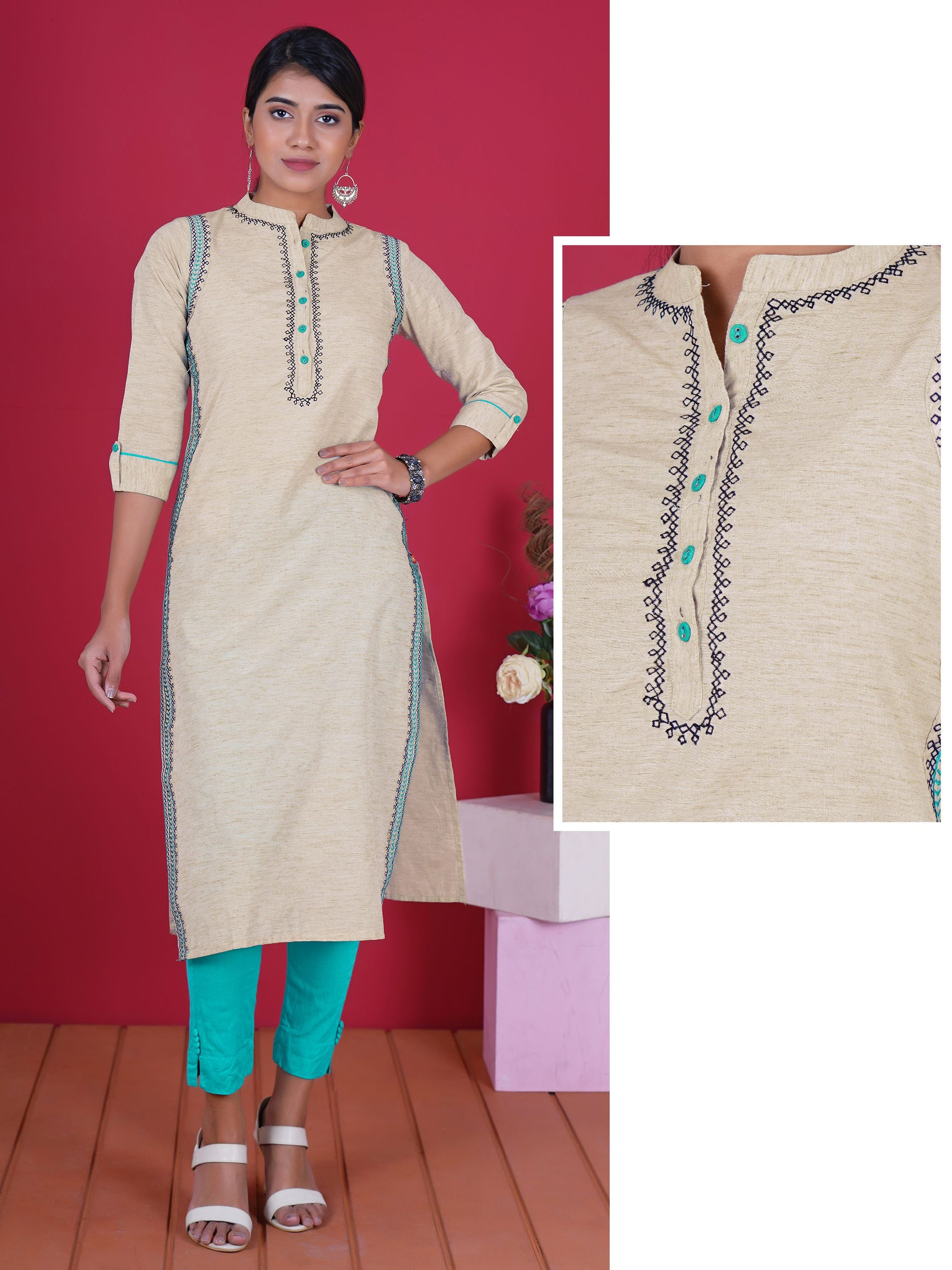 Resham & Zari Border Work Woven Textured Cotton Kurti
