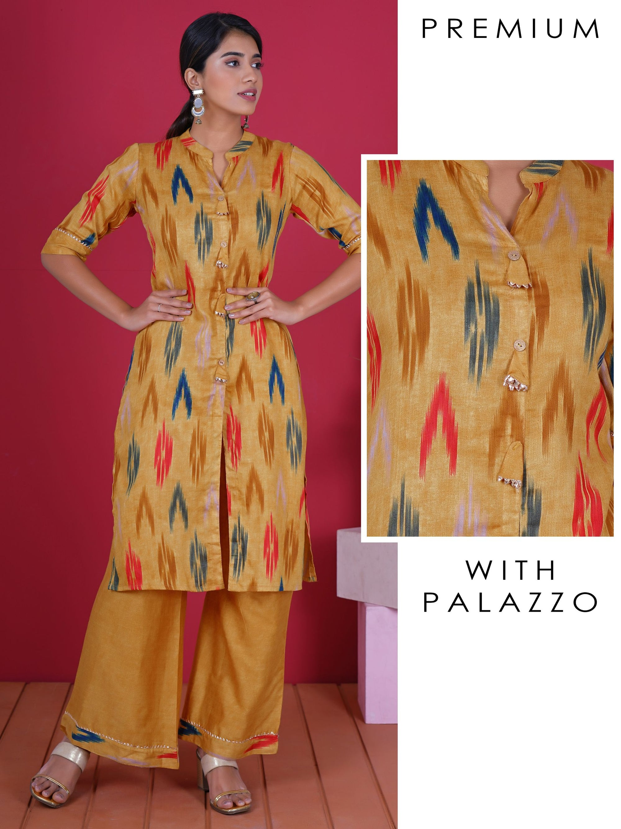 Gota Temple Border & Tasseled Ikkat Print Cotton Kurti & Palazzo Set - Mustard Yellow