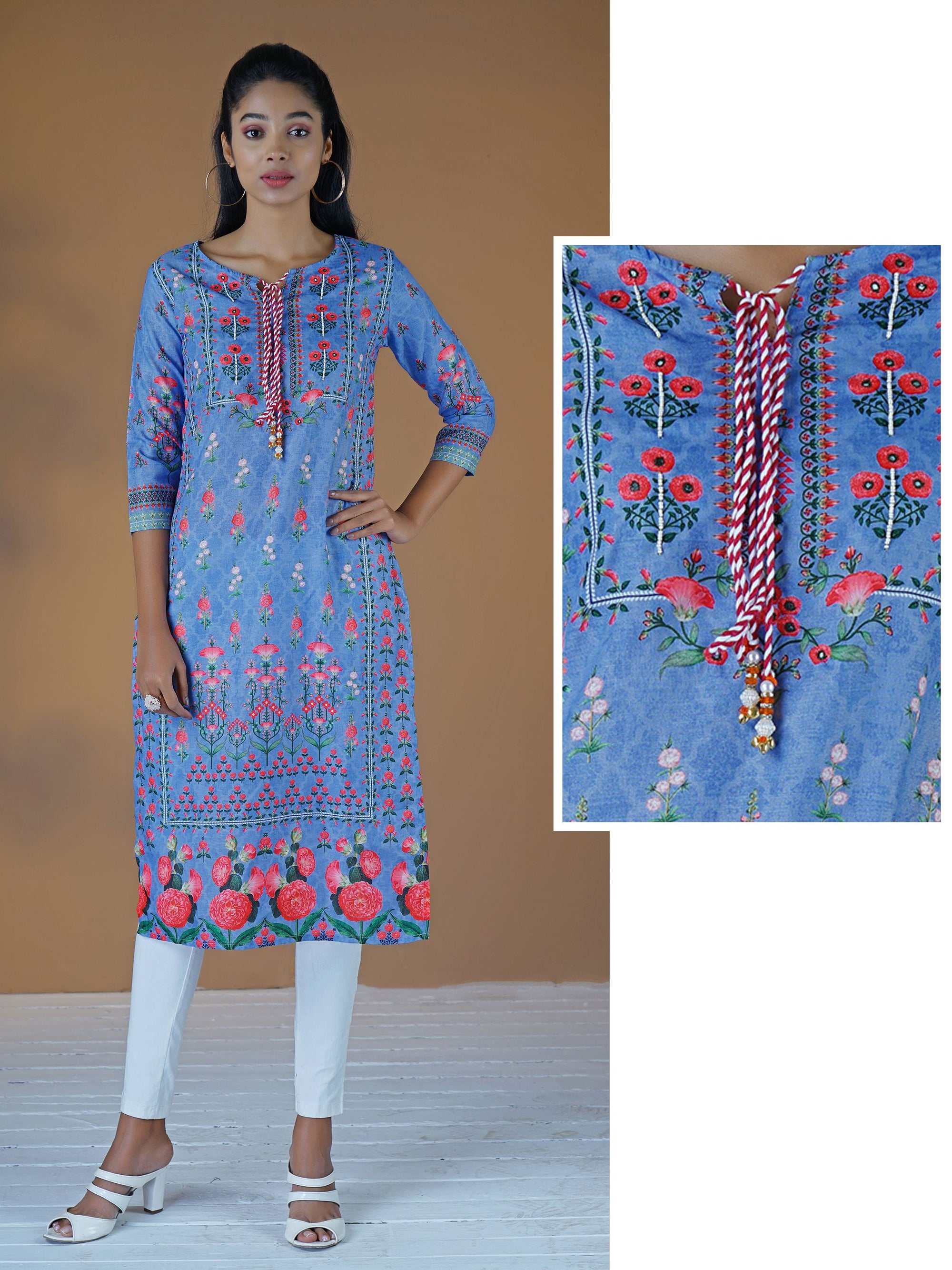 Beads & Foil Mirror Work Tasseled Floral Slub-Cotton Kurti