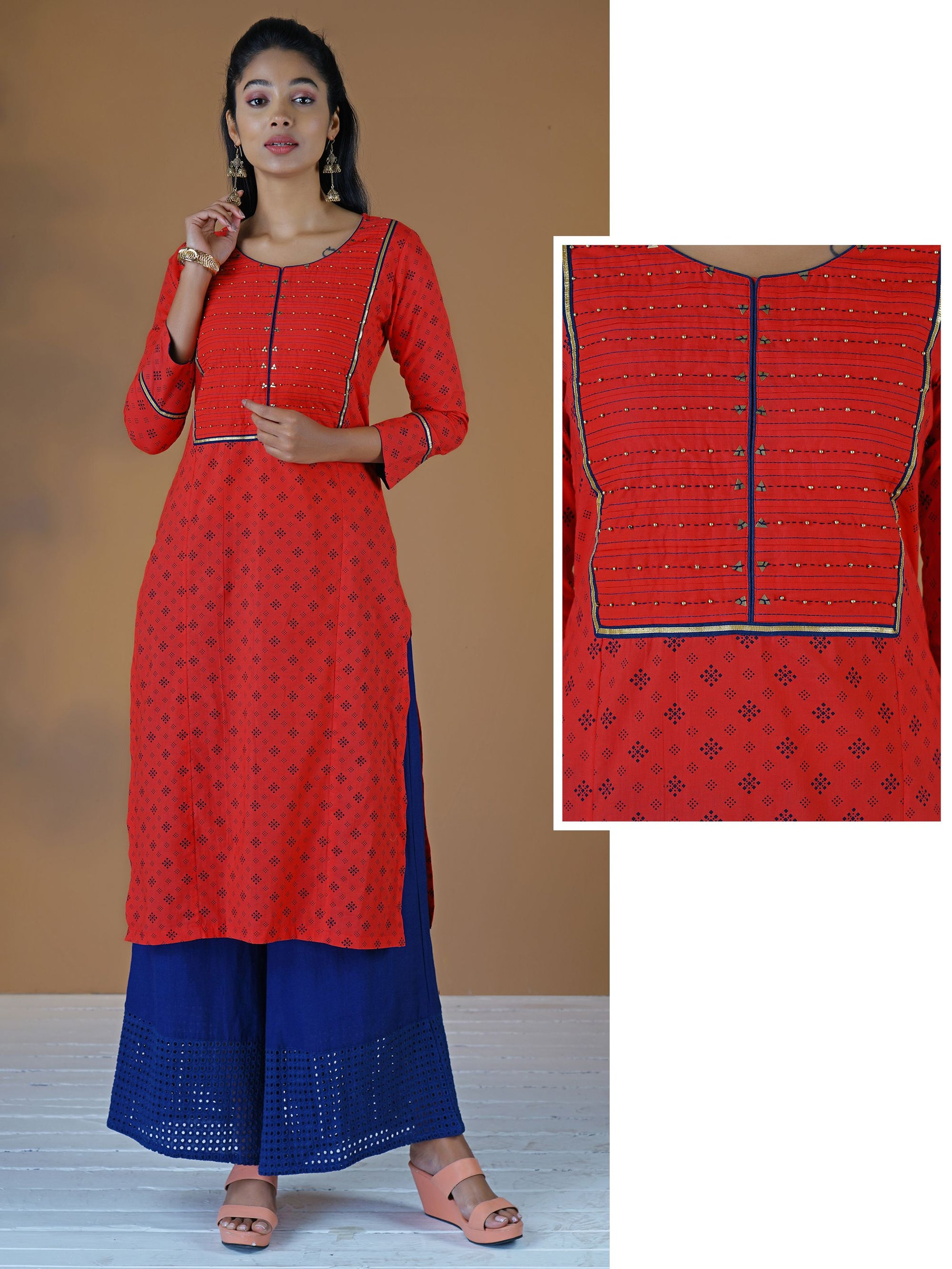 Resham, Beads & Shimmer Border Work Barfi Buti Print Cotton Kurti - Red & Blue