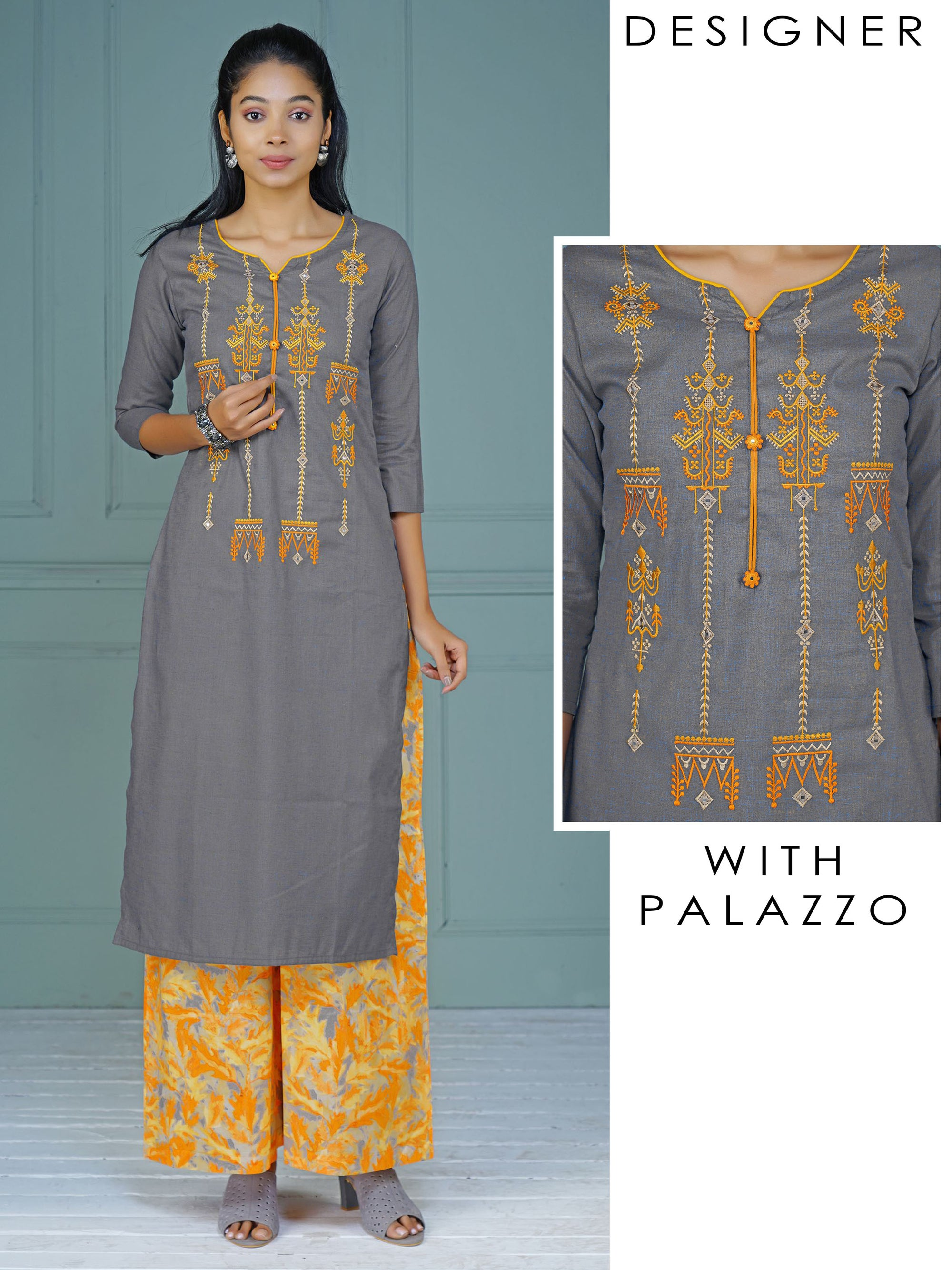 Resham Ethnic Work Slub-Cotton Kurti & Leaf Busy Print Palazzo Set