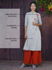 Resham Floral Work & Resham Work Buttoned Two-Toned Cotton Kurti