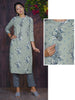 Antique Finish Victorian Style Coins & Tassels Studded Floral Cotton Kurti - Silver Grey