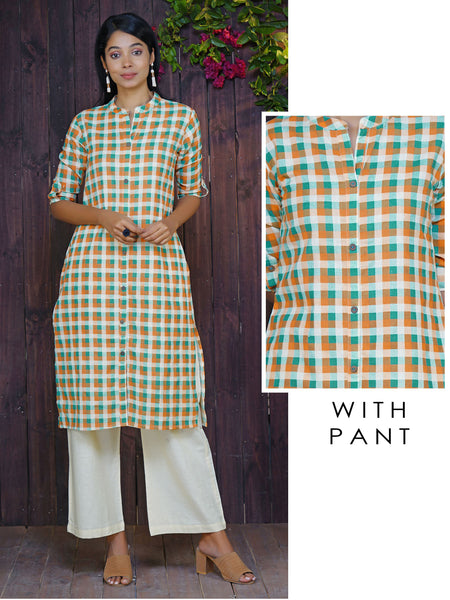 Coconut Shell Buttoned Geometric Checkered Print Cotton Kurti & Pant Set