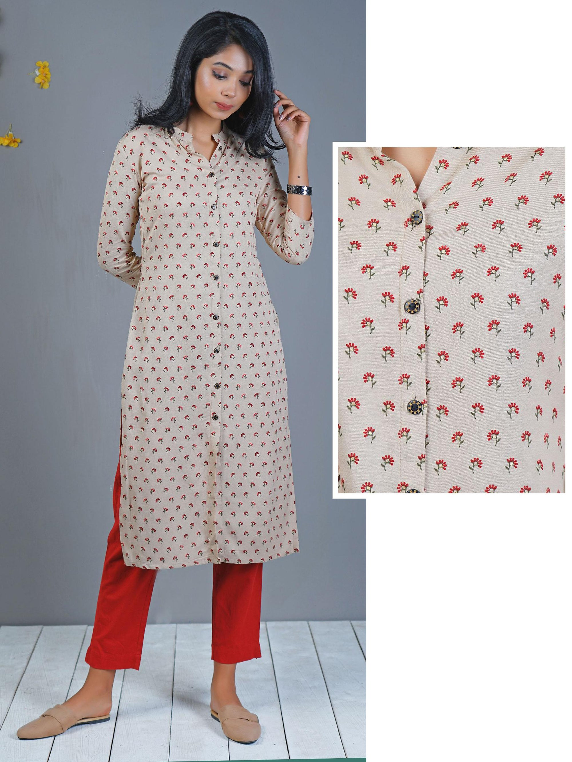 Stand Collar Designs For Kurti : Wooden buttoned floral khadi block printed cotton kurti