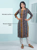 Resham & Wooden Button Work Woven Printed Cotton Handloom Kurti - Blue
