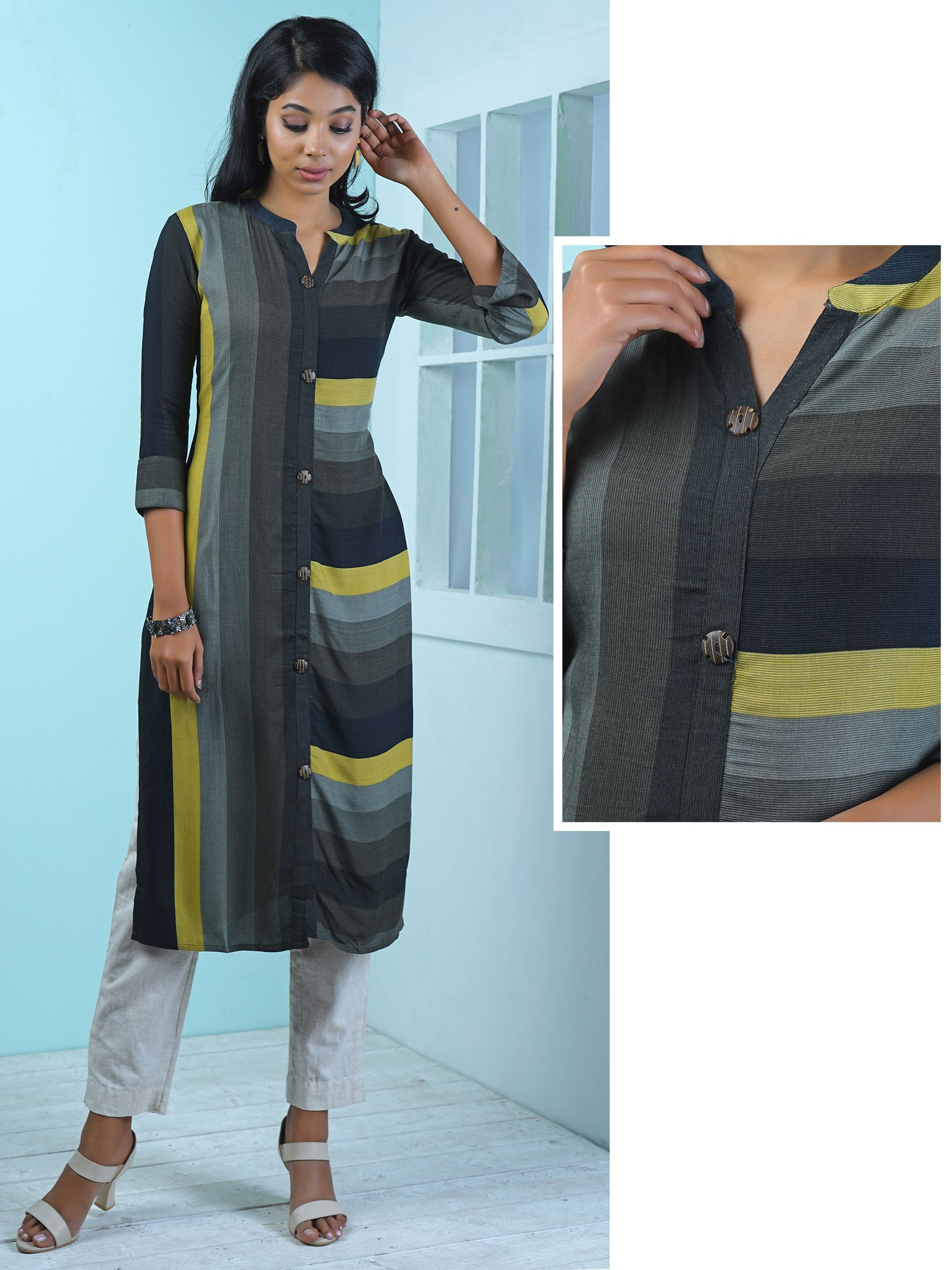 Wooden Cutwork Buttoned Stripes Printed Kurti