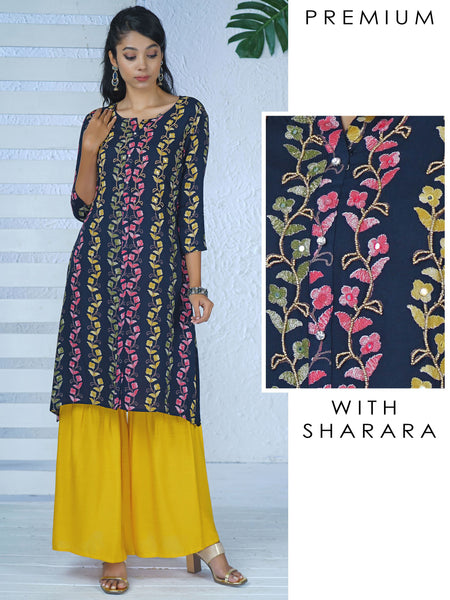 Beads & Foil Mirror Work Floral Baile Striped Kurti with Sharara