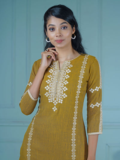 Resham & Foil Mirror Work Crystal Stud Buttoned Kurti – Mustard Yellow