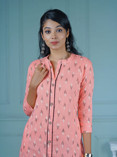 Textured Buttoned Ikkat Print Slub-Cotton Kurti