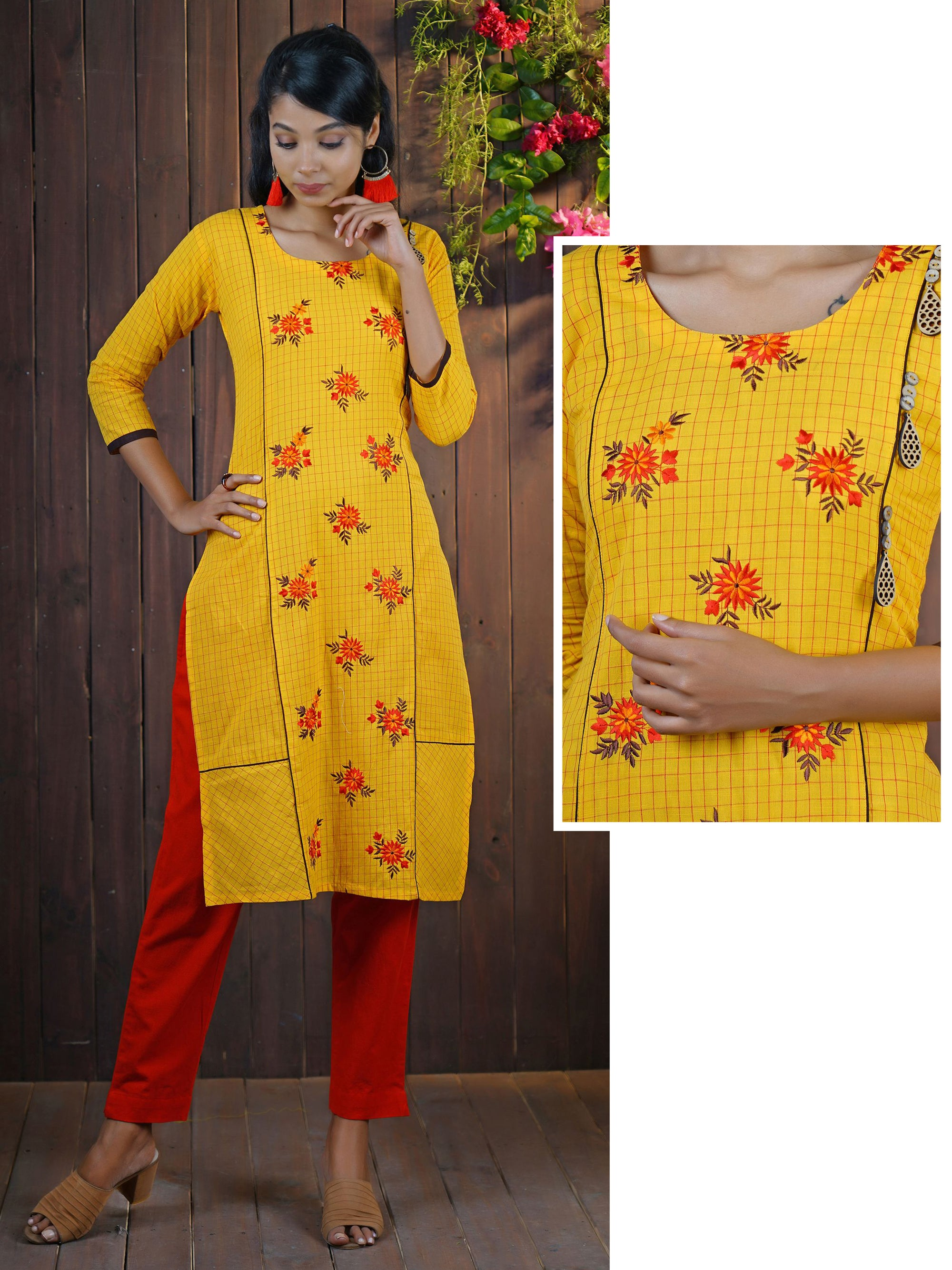 Resham Work Wooden Cutwork Brooch Studded Checkered Cotton Kurti