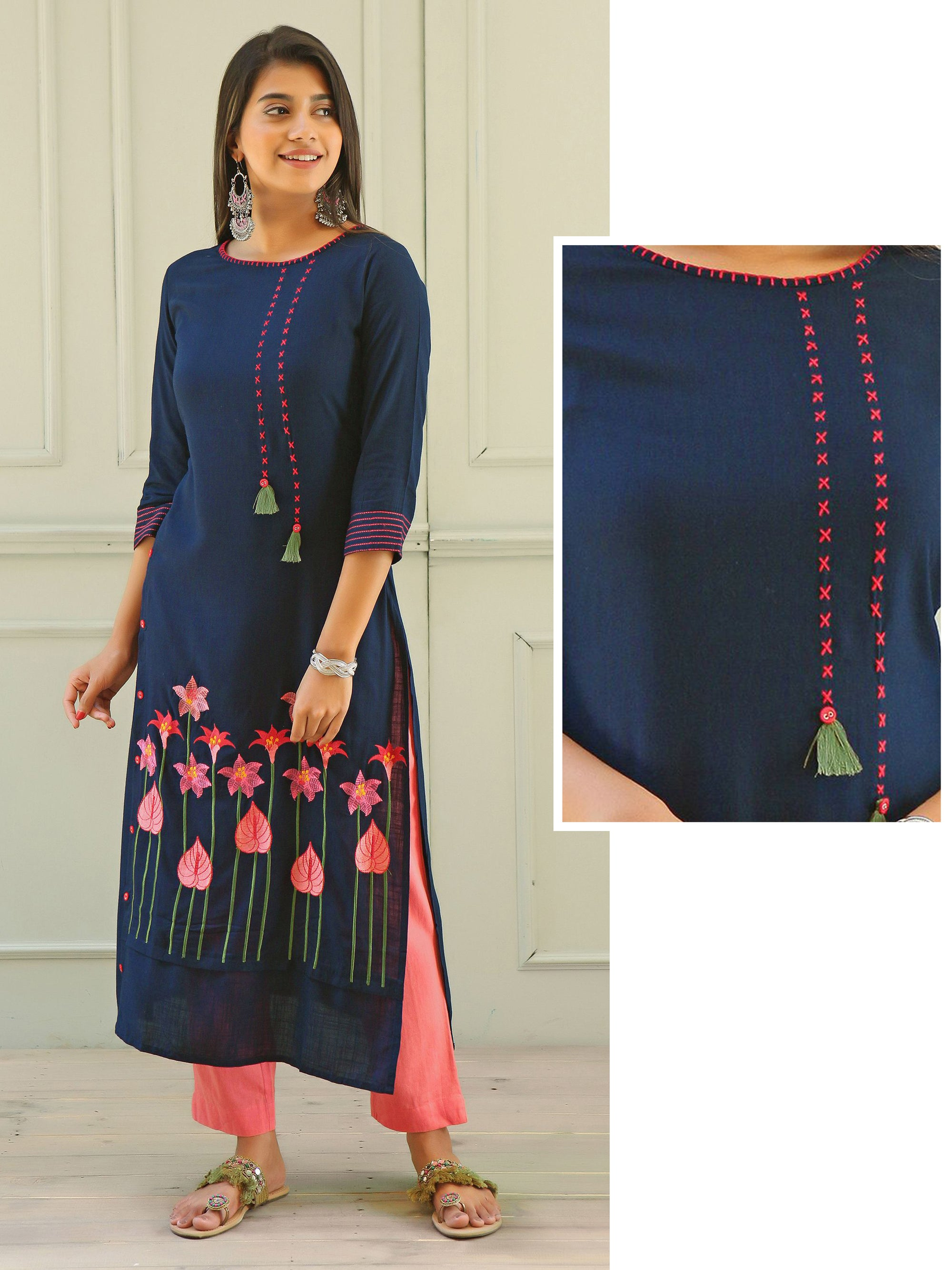 Floral Embroidered &Tassel and Button highlighted Cotton Kurti - Navy Blue
