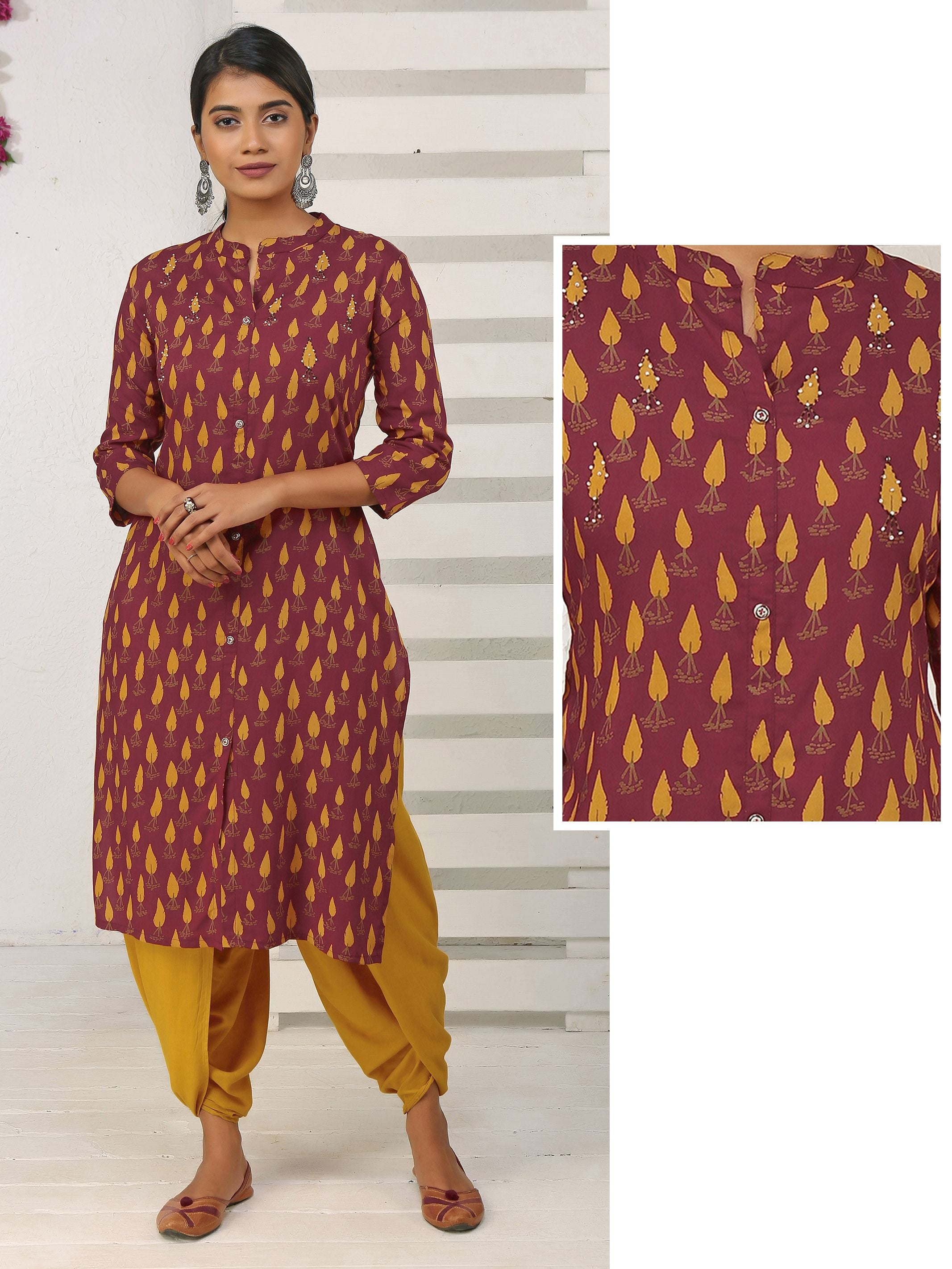 7647558c4 Leaf Motif Printed Cotton Kurta - Maroon