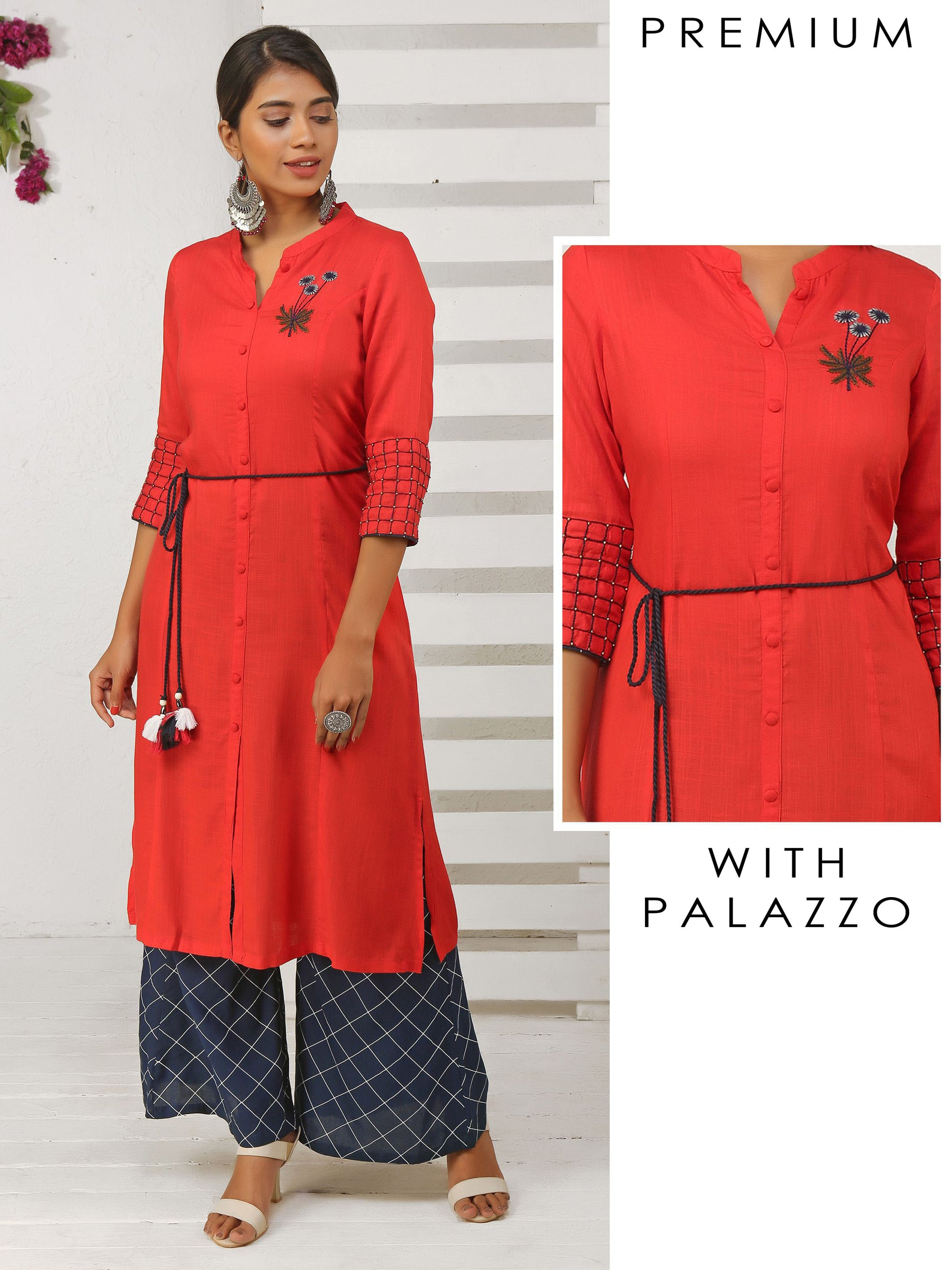 Leaf Embroidered Dori With Tassel Cotton Kurta And Palazzo set - Red