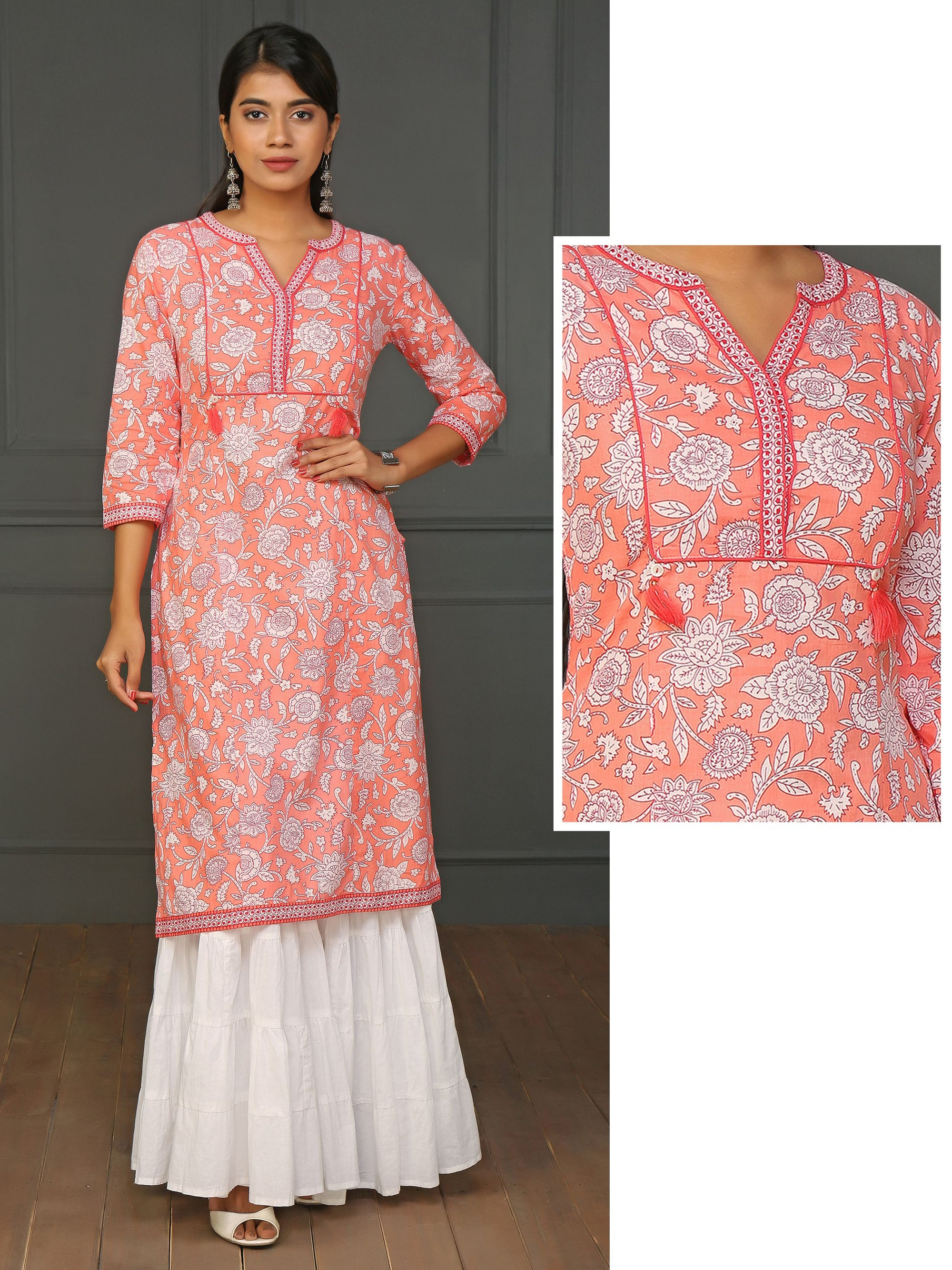 Contrast Floral Printed Peach Cotton Kurti