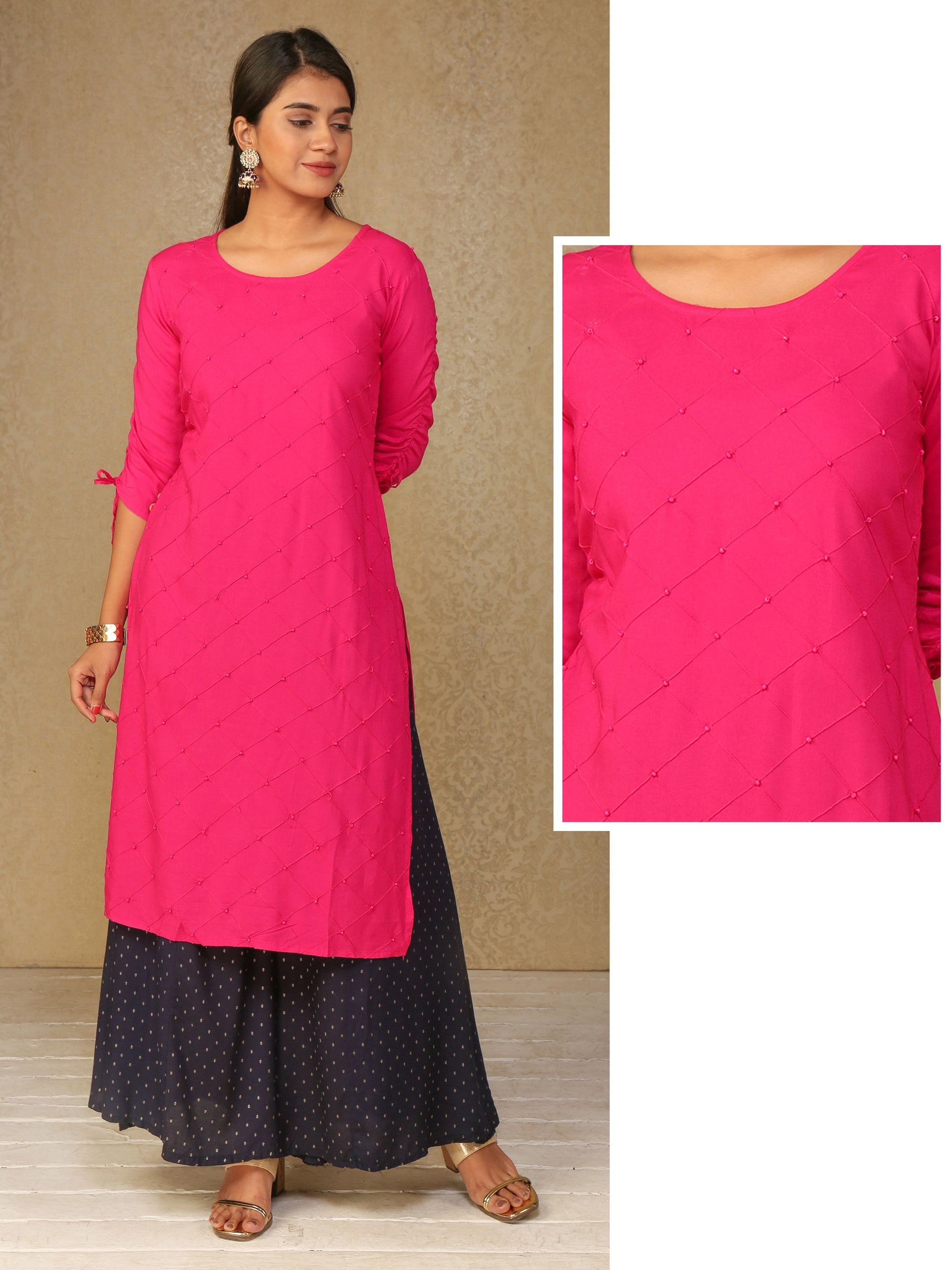 Diamond Pin tucked & Bead work Kurti