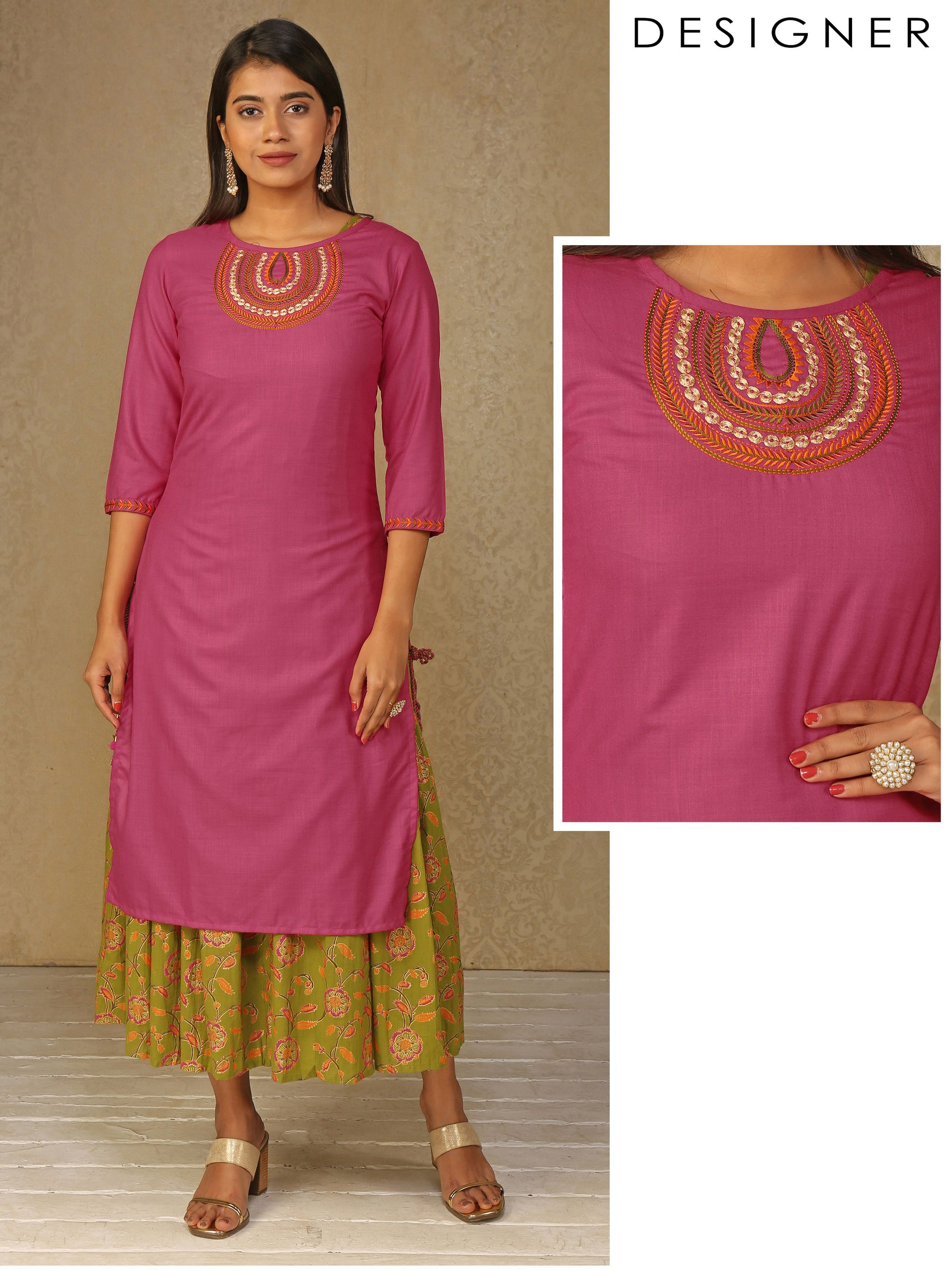 Ethnic Embroidered & Tasseled Kurta with Floral Foil printed Detachable Inner