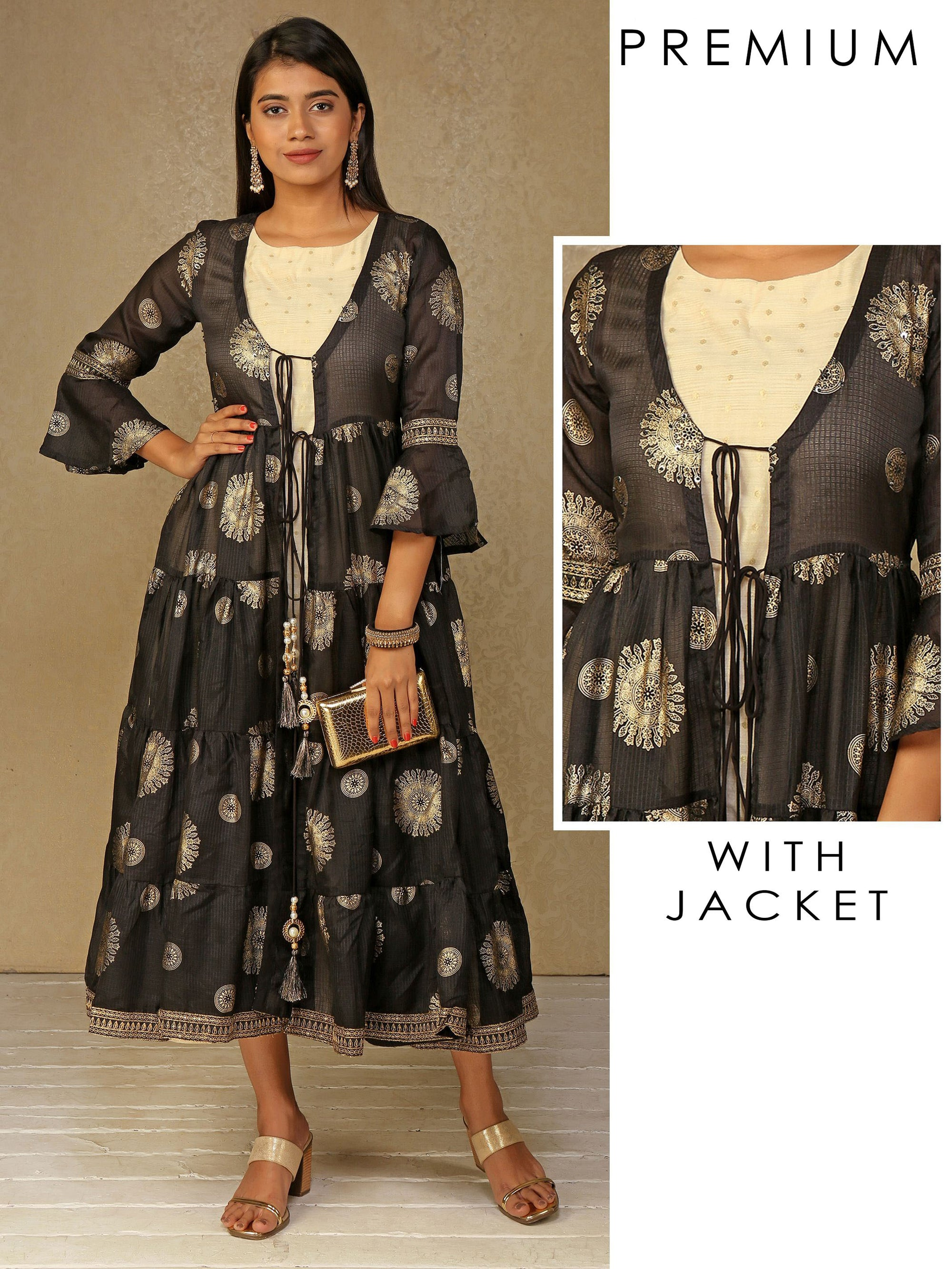 Kurta and Gold Foil Printed Black Mid Length Anarkali Style jacket