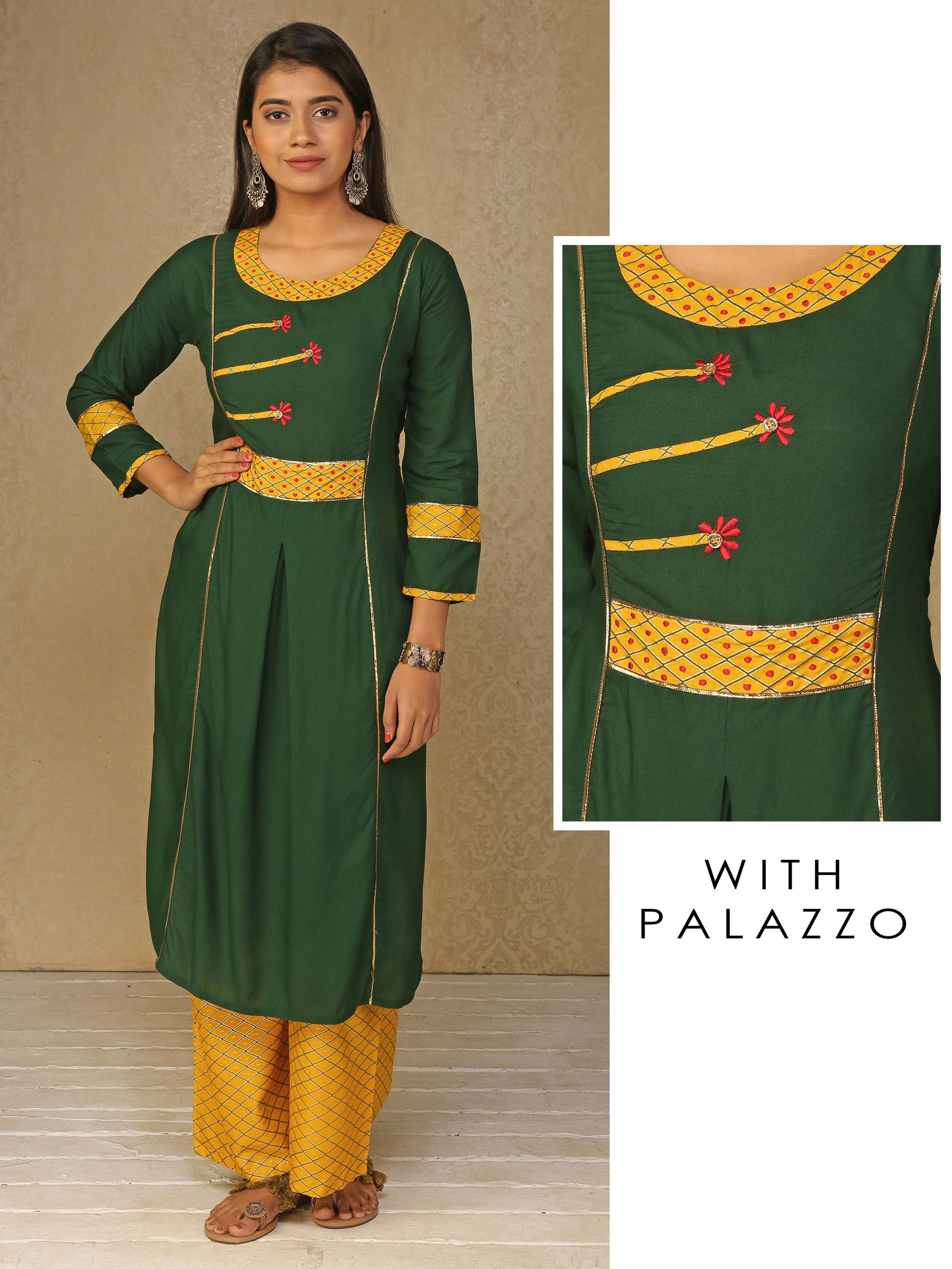 Green Designer Kurta With Gota Work And Yellow Designer Palazzo Set