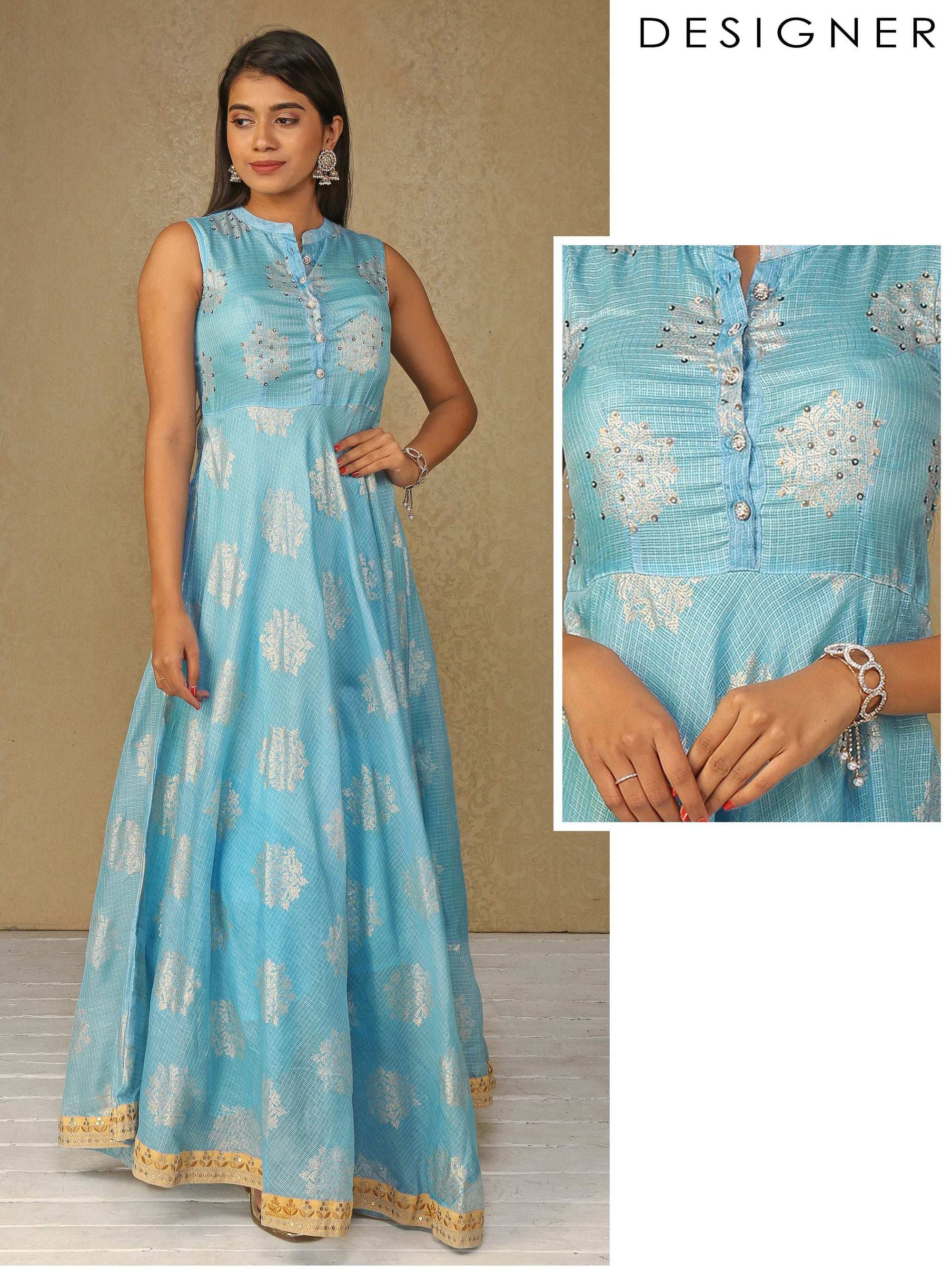 Gold Foil Printed Powder Blue Full Length Anarkali