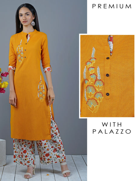 Embroidered Kurti & Printed Palazzo Set - Mustard Yellow