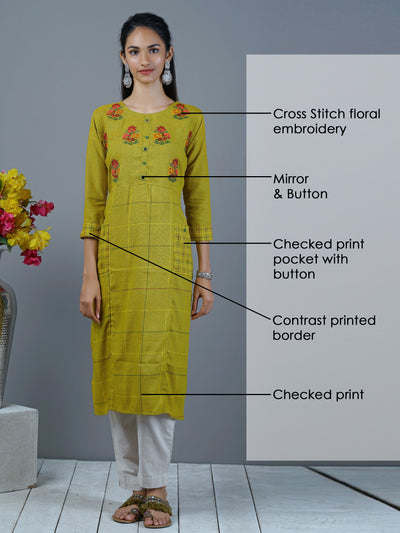 Cross Stitch Floral Embroidered & Checks Printed Kurti