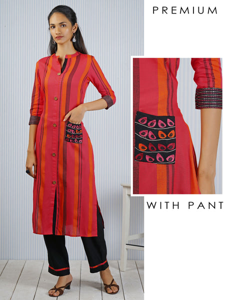 Fusion Stripes With Running Stitch and Fusion Embroidery Kurta Pant Set