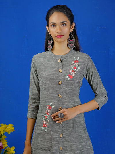 Floral Embroidery With Pocket Grey Kurti and Pallazzo Set