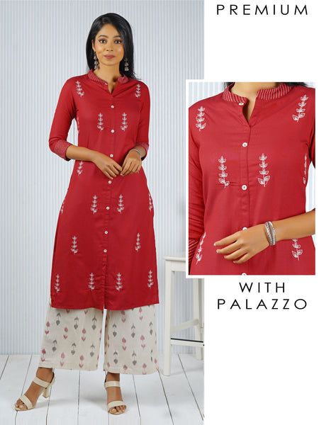 Minimal Floral Embroidered & Printed Kurti Palazzo Set