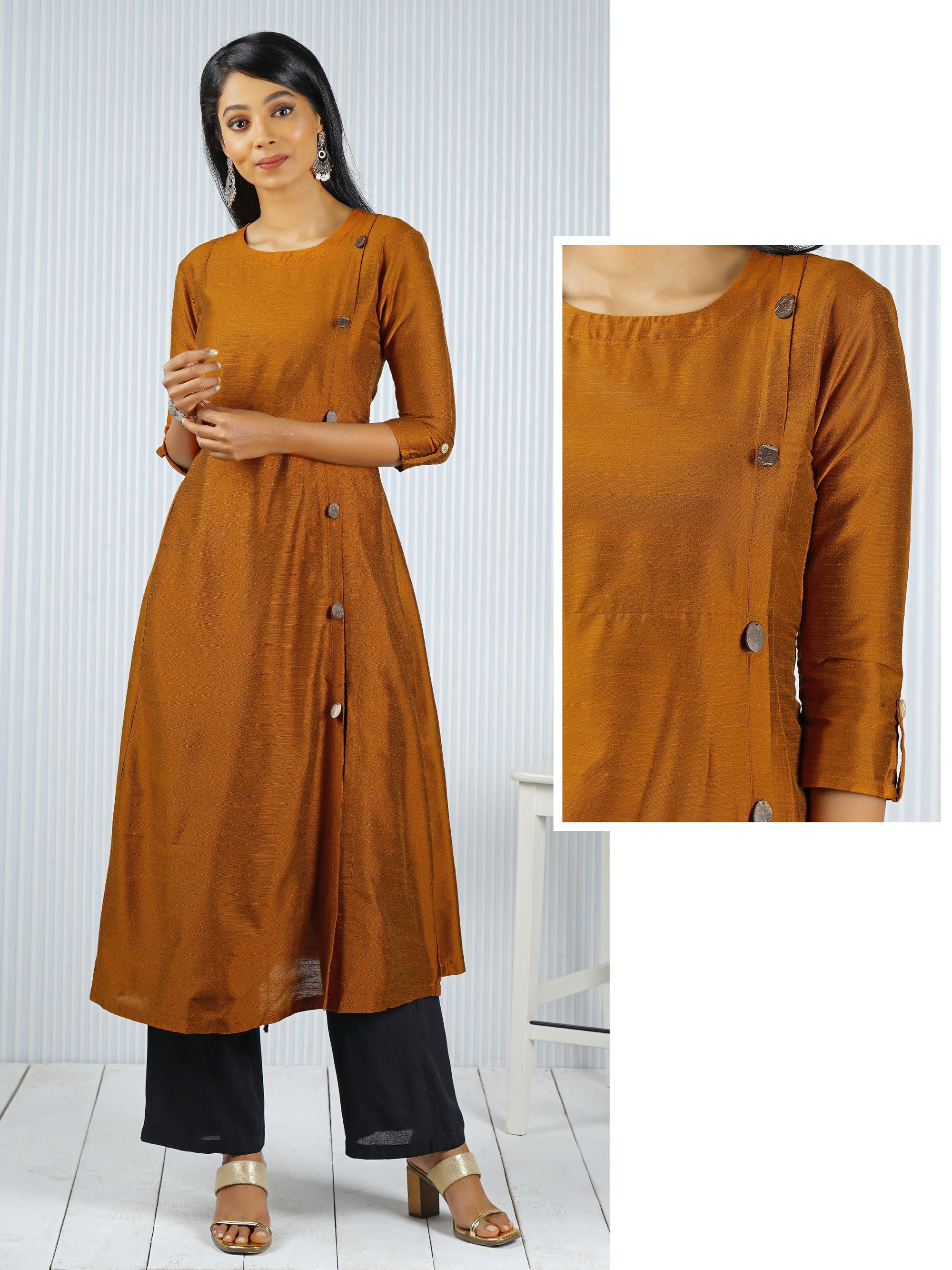 Solid Glossy Coconut Shell Detail Kurti - Light Amber