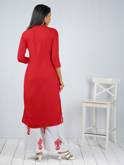 Flower & Vase Embroidered Kurti - Palazzo Set - Red
