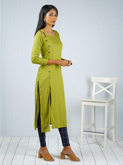 Solid Square Button detail Kurti - Lime Green