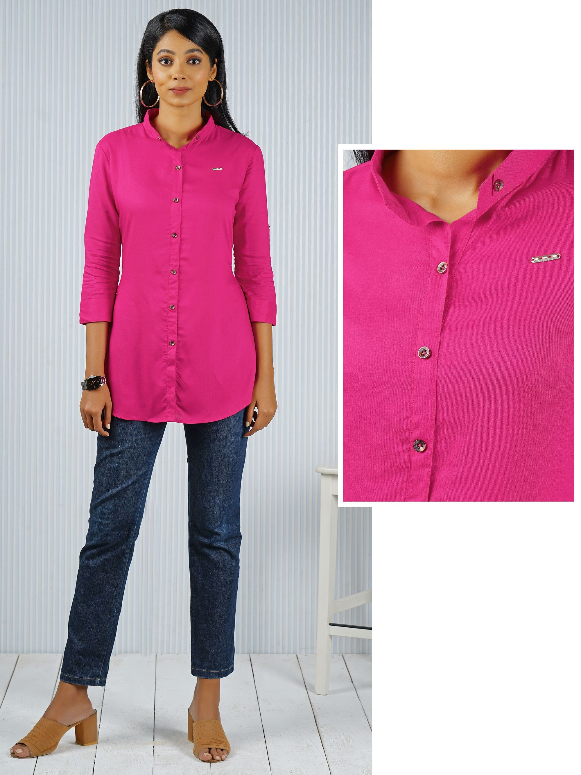 Long Button Up Shirt - Magenta Pink