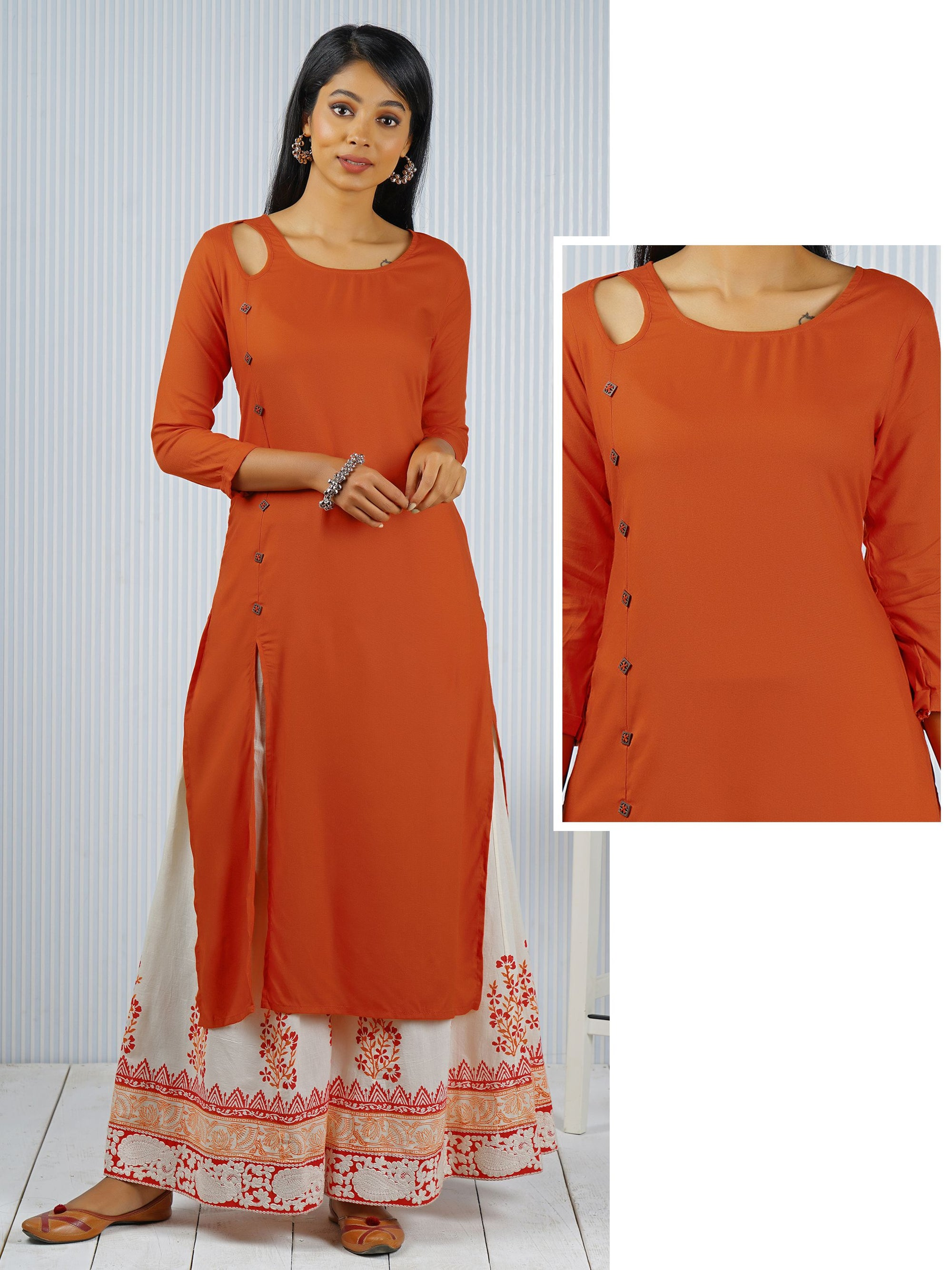 Solid Square Button detail Kurti - Rust