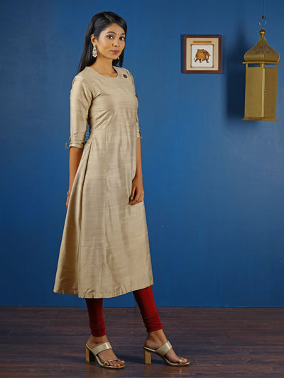 Solid Glossy Coconut Shell Detail Kurti - Edgy Gold