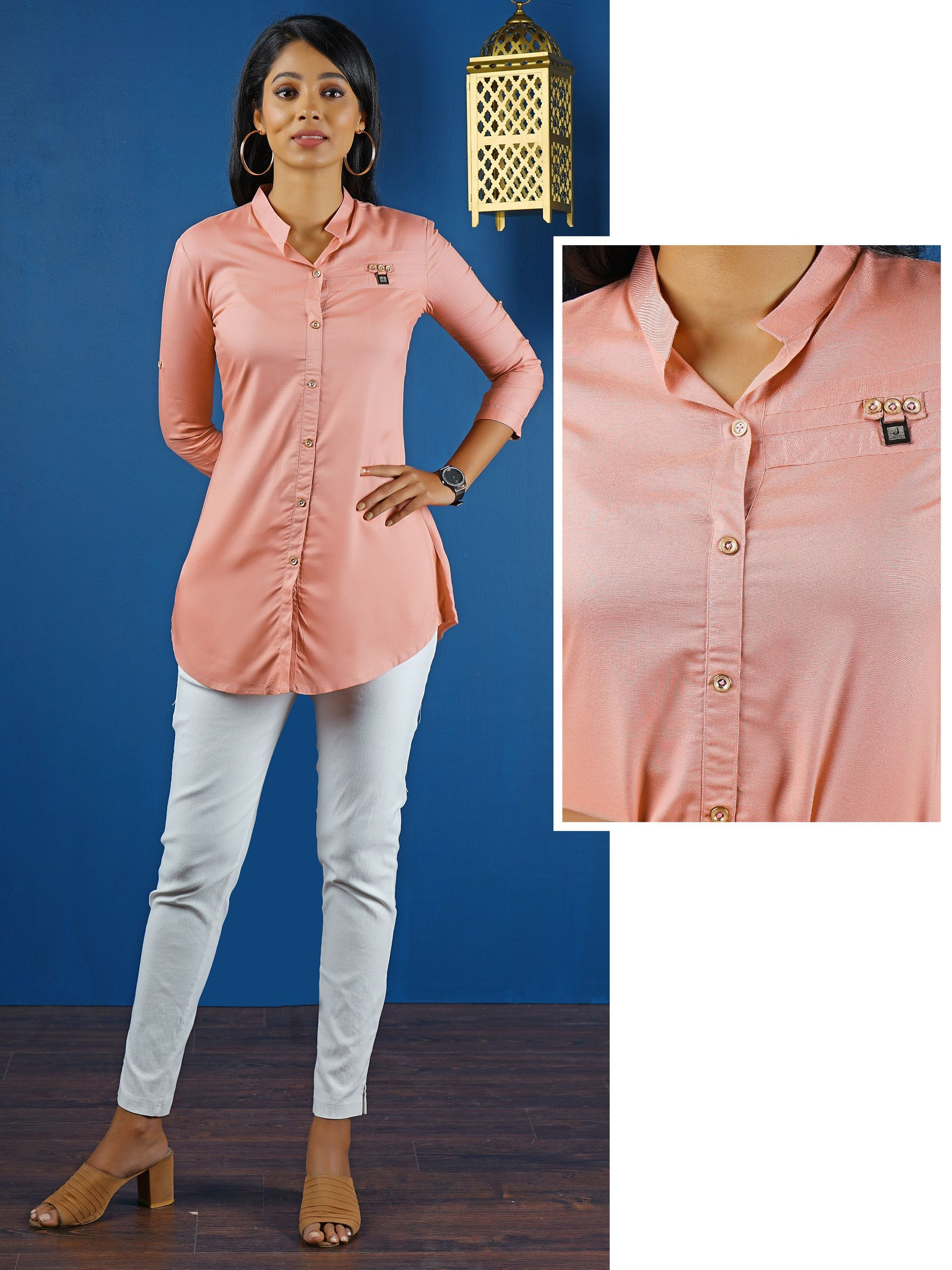 Long Button Up Shirt - Blush Pink