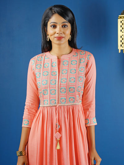 Elegant Embroidery With Dori Tie-up Pink in Anarkali - Pink