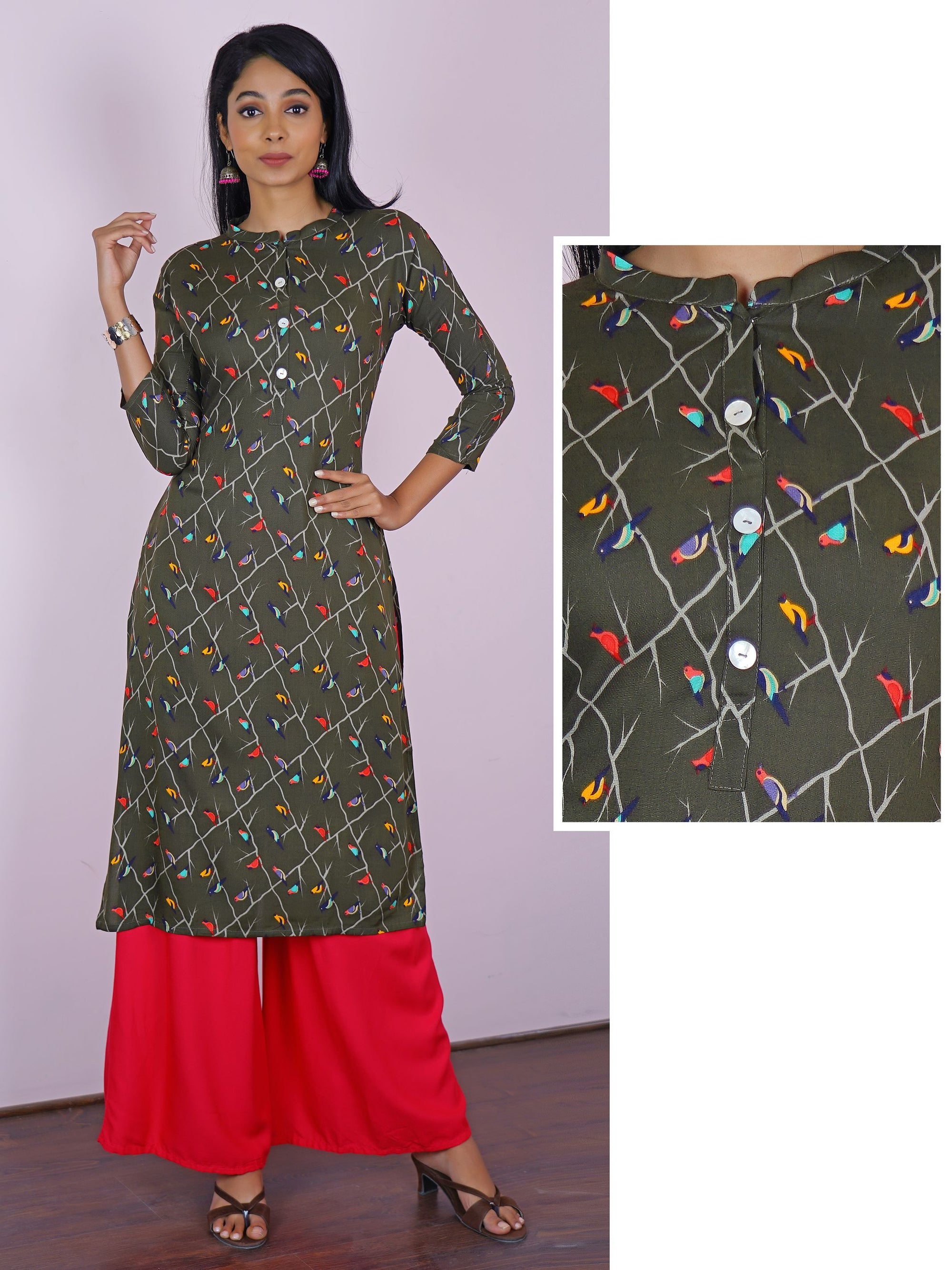 Colorful Bird Print Cotton Kurta - Grey