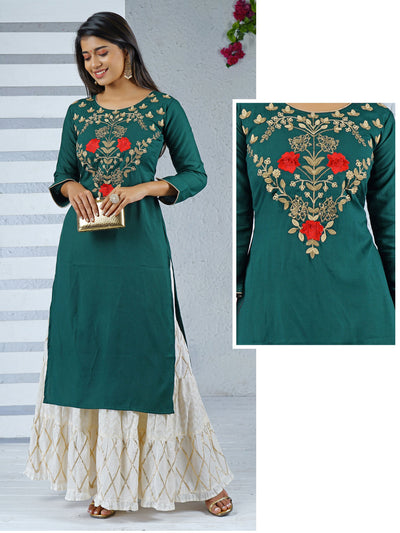 Golden Cord Embroidered & Stone worked Handloom Kurti
