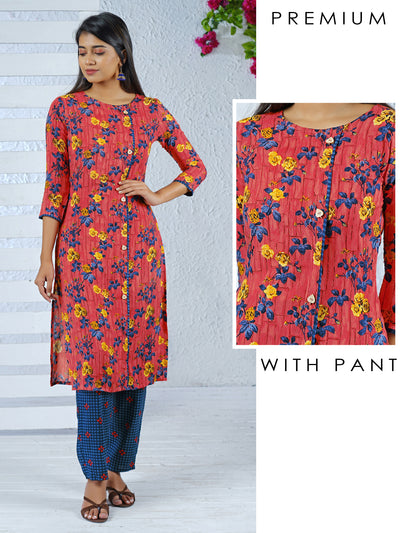 Wooden Leaf Buttoned Floral Printed Kurti & Checkered Parallel Pant